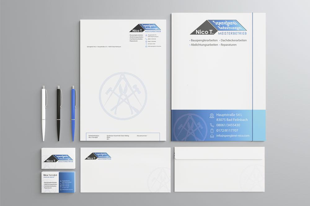 Geschäftsausstattung Spenglerei Nico Design