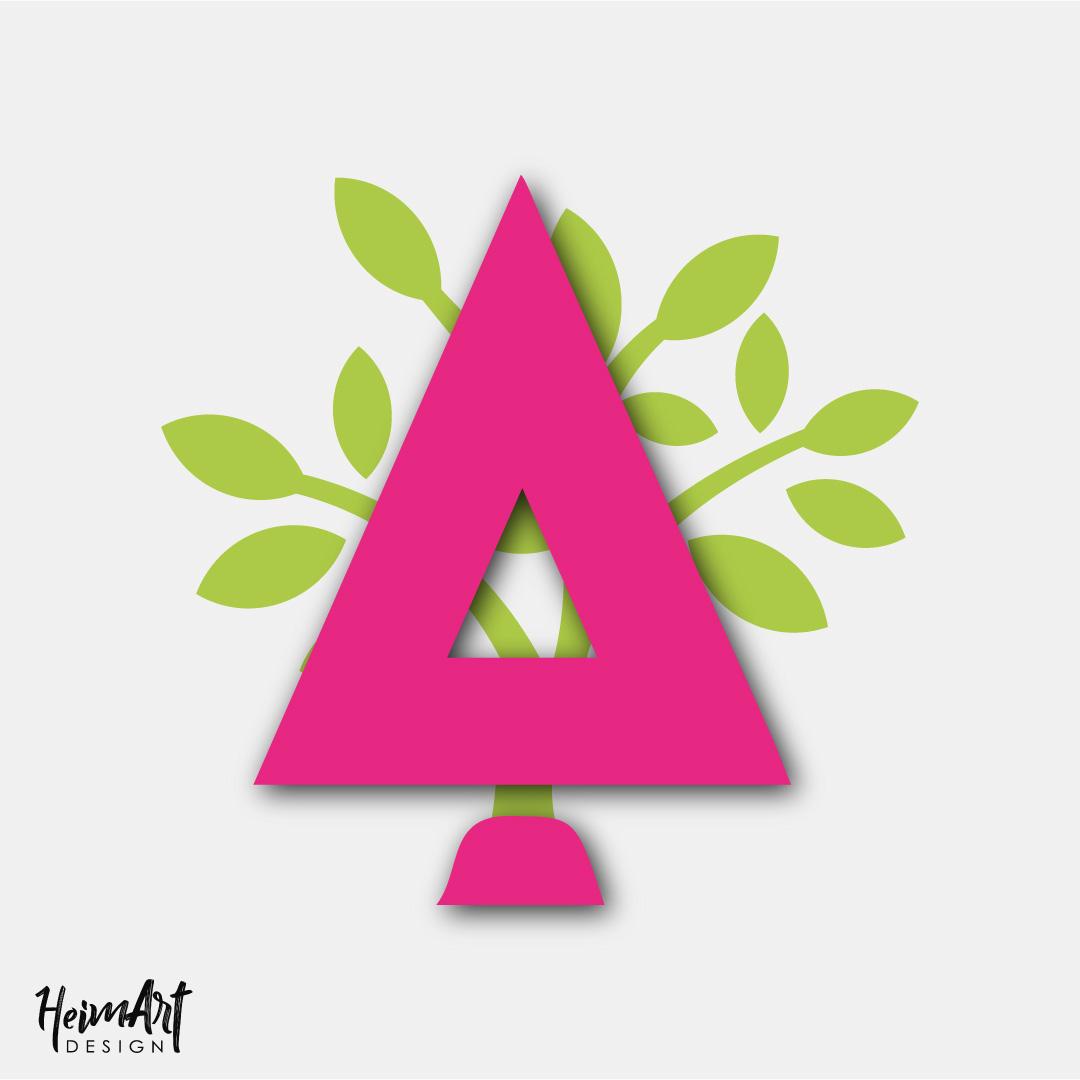 Gartenbau Stahl Logo. Buchstabe A in pink und Blättern